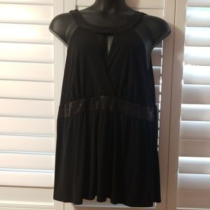 Torrid Sexy 4X Sequined Keyhole front Black Blouse